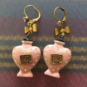 Betsey Johnson pink heart tip jar earrings